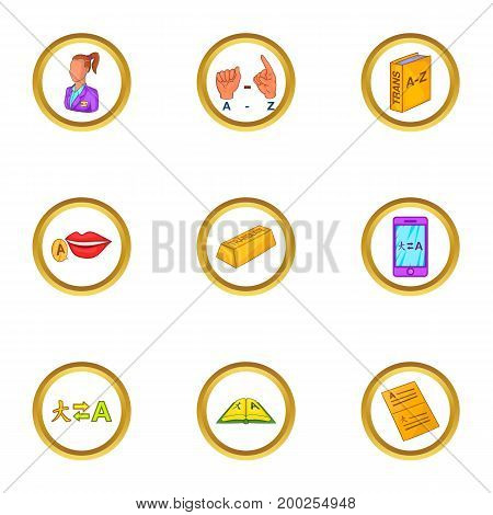 Translation icons set. Cartoon illustration of 9 translation vector icons for web design