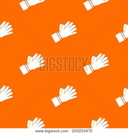 Clapping applauding hands pattern repeat seamless in orange color for any design. Vector geometric illustration