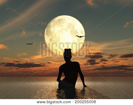 3d illustration of a woman in the sea looking at the full moon