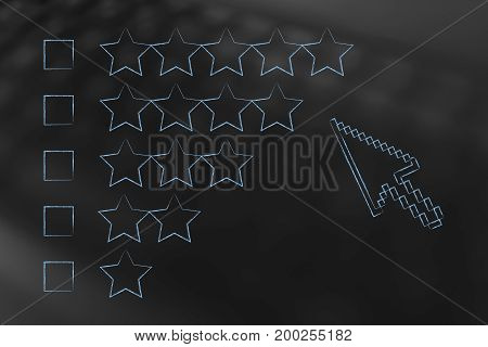 Cursor About To Click An Option Among Different Star Rating Categories