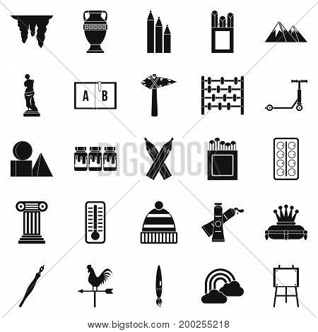 Drawing icons set. Simple set of 25 drawing vector icons for web isolated on white background