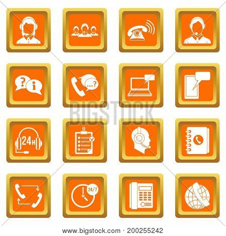 Call center symbols icons set in orange color isolated vector illustration for web and any design