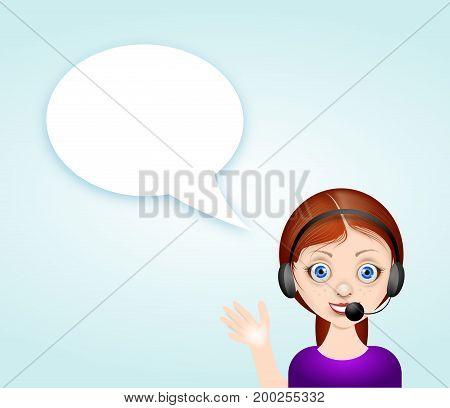 Illustration of girl avatar with blank white speech bubble