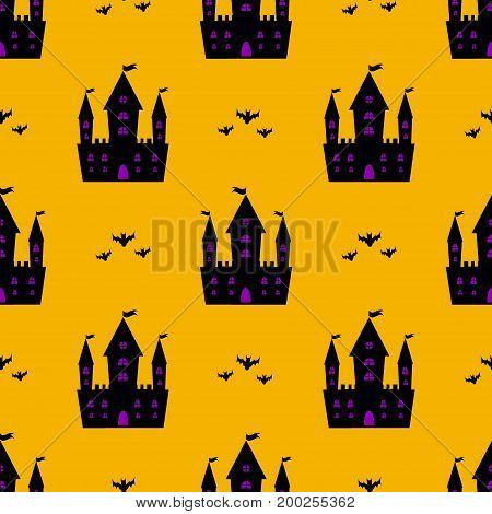 Castle halloween seamless vector pattern bat vector