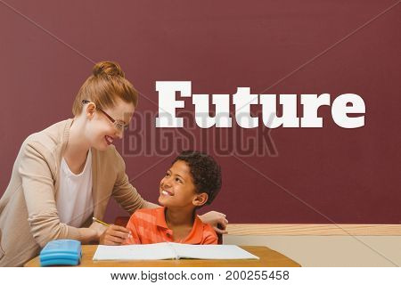 Digital composite of Student boy and teacher at table against red blackboard with future text