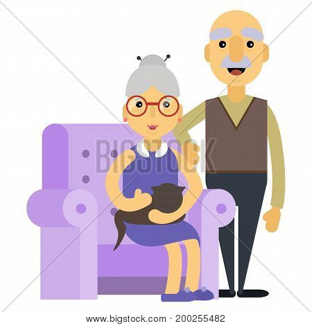 Happy day grandparents. Card for your greetings. isolated white background Stock vector.