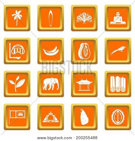 Sri Lanka travel icons set in orange color isolated vector illustration for web and any design