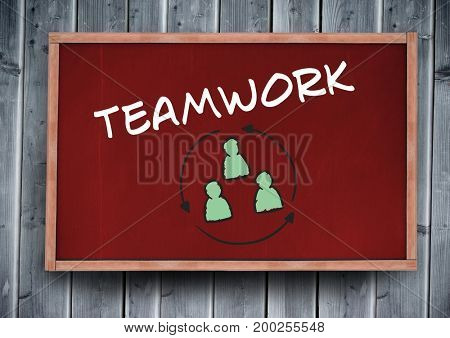 Digital composite of teamwork text on blackboard
