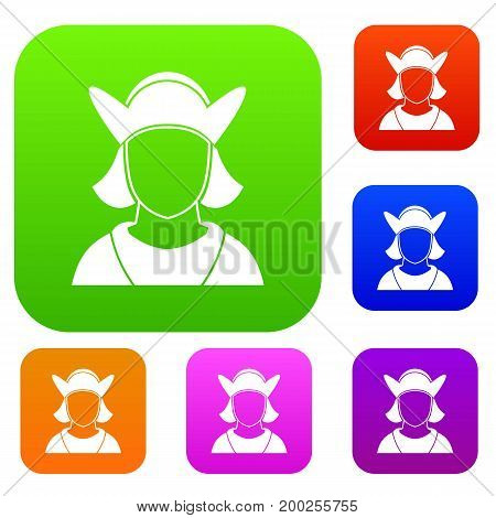 Male avatar set icon in different colors isolated vector illustration. Premium collection