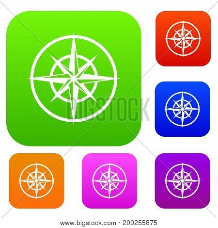 Sign of compass to determine cardinal directions set icon in different colors isolated vector illustration. Premium collection