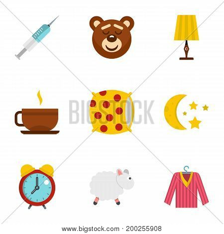 Bed time rest icon set. Flat style set of 9 bed time rest vector icons for web isolated on white background