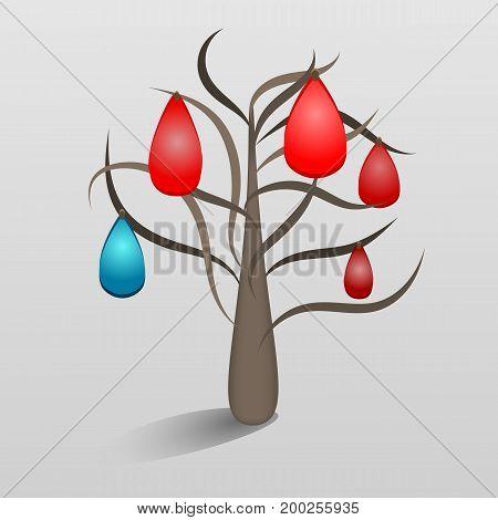 Vector illustration of a fantastic tree with precious stones drops