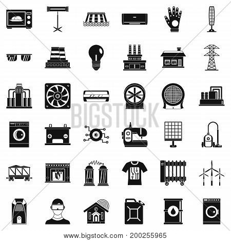 Saving energy icons set. Simple style of 36 saving energy vector icons for web isolated on white background