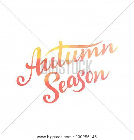 Autumn Season lettering. Hand drawn composition. Sketch design elements for cards prints banners posters and more. Vector illustration
