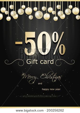 Illustration of beautiful christmas gift card with christmas bulbs and 50% discount
