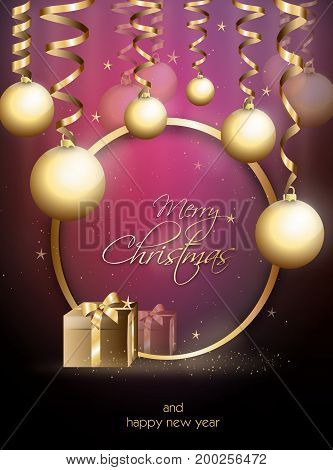 Beautiful christmas greeting card with golden ornaments