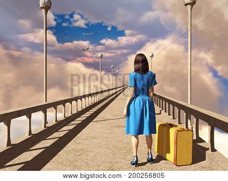 3d illustration of a woman with a suitcase on a bridge
