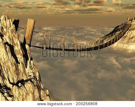 3d illustration of a wooden suspension bridge