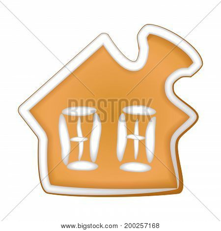 Gingerbread cookie with a glaze. Homemade pastry with spices. Isolated on white background without shadow. Christmas cookies. A gingerbread house.