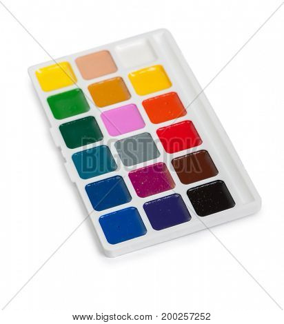 Different set of watercolors in the box isolated on white background