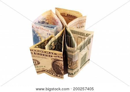 Money from different countries: dollars euros hryvnia rubles