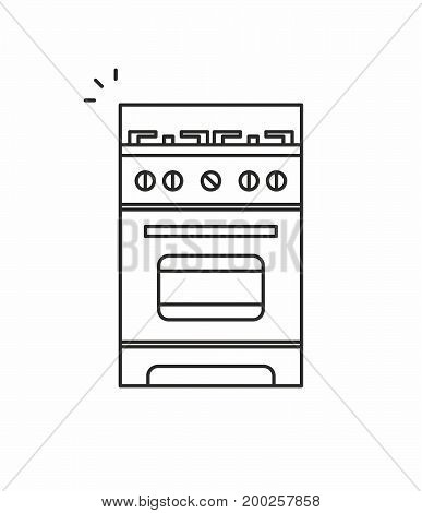 Gas stove line icon on white background. Vector illustration.