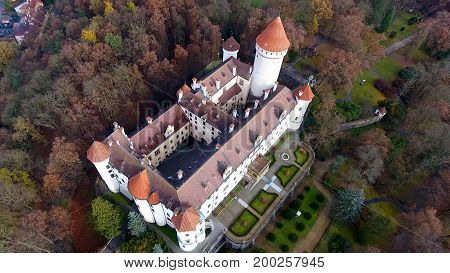 Aerial view of Medieval castle Konopiste in Czech republic, Europe, Drone view