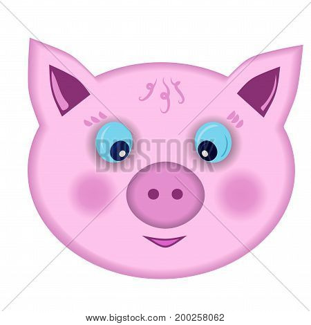 Funny pig snout. Drawing. Isolated on white background without shadow. Young cheerful / surprised pig.Vector illustration.