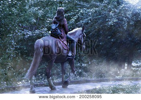 Girl on horseback in the park in the moonlight
