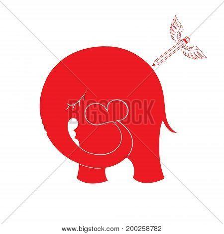 Abstract vector illustration with elephant and hearts. Pencil with wings. Pencil with wings draws an elephant that keeps the trunk heart.