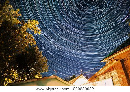 Starry sky and star trails