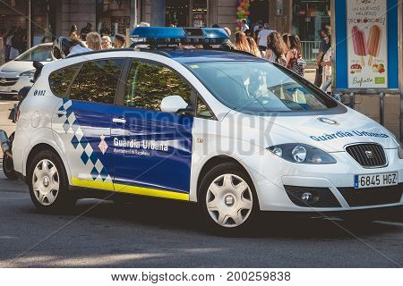 Close Up On A Spanish Police Car