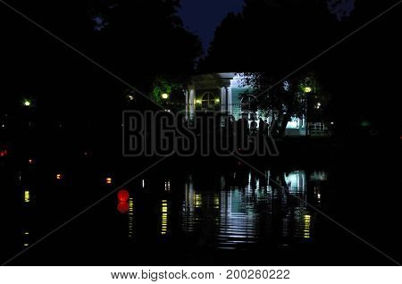 Paper lanterns are floating in water during the festival, Moscow, Russia