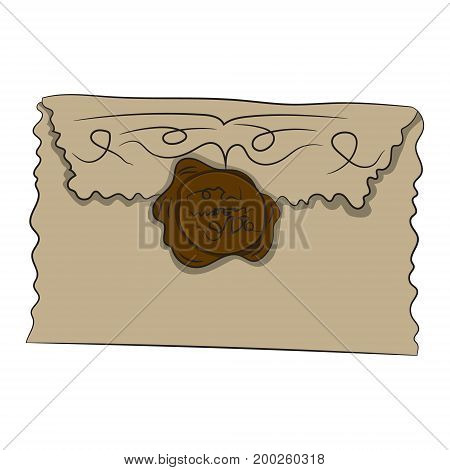 Envelope with seal. Vector illustration. Drawing by hand
