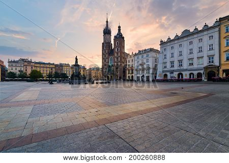 Rynek square in Krakow Poland. Europe in the morning