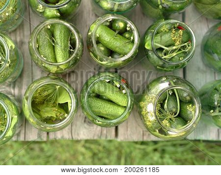 Open jars with marinated pickled cucumbers red pepper and dill above view
