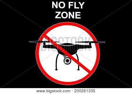 Signboard NO FLY ZONE with a picture of a dithered droning.