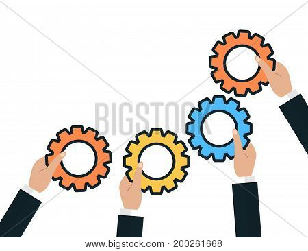 Modern Flat Illustration of Teamwork to reach goal and generate ideas