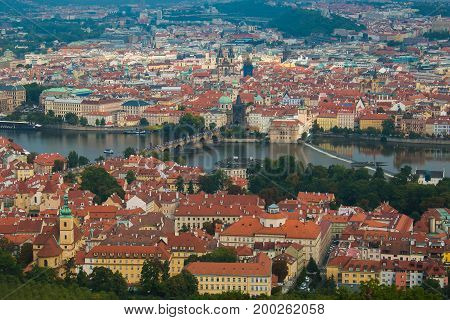 Aerial view of Prague and Vltava river from Petrin hill tower