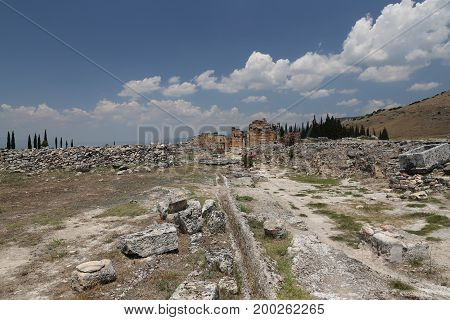 Frontinus Street In Hierapolis Ancient City, Turkey