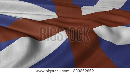 3D illustration of Scotland and England composite flag fluttering in light wind.