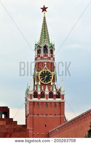 Spasskaya tower of the Moscow Kremlin closeup. Moscow, Russia