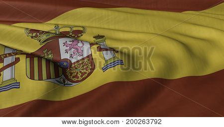 3D Illustration of Spanish flag fluttering in strong wind.