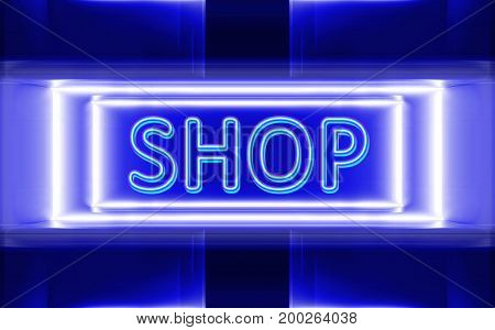 highly technological design of the neon sign of shop