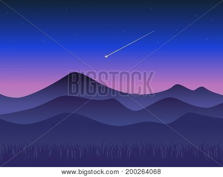 Landscape at sunset, Mountains and shooting star