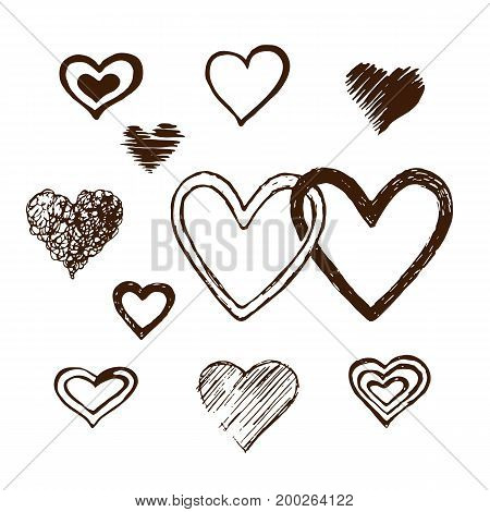 Hand-drawn sketch hearts with ink isolated on grunge. Love symbols vector design elements.