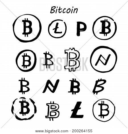 Bitcoin litecoin sketch sign icon set for internet money. Crypto currency symbol and coin image for using in web projects or mobile applications.