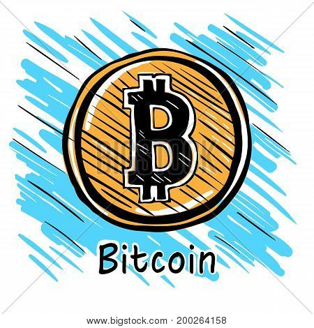 Bitcoin Hand drawn sketch sign icon set for internet money. Crypto currency symbol and coin image for using in web projects or mobile applications.