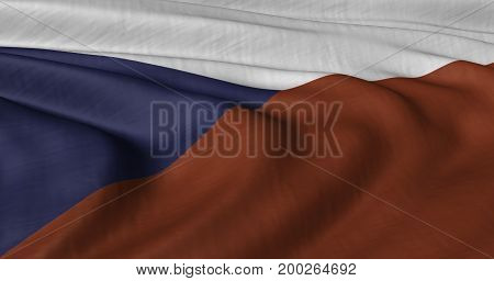 3D illustration of Czech Republic flag fluttering in light breeze