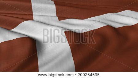 3D illustration of Danish flag fluttering in light breeze